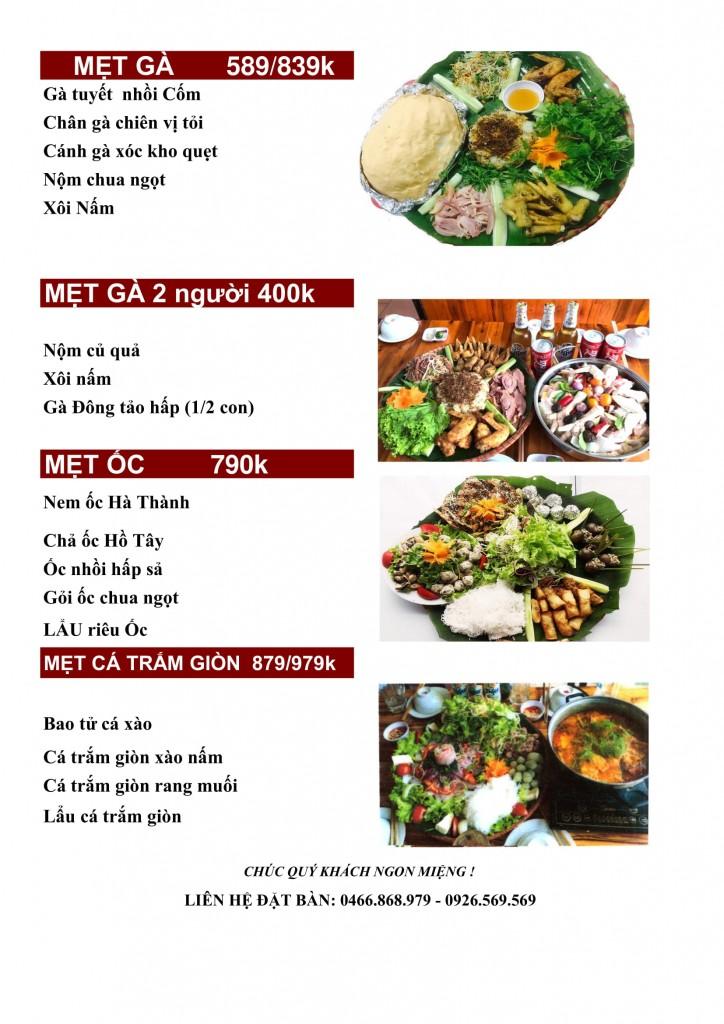 menu Góc hà Nội