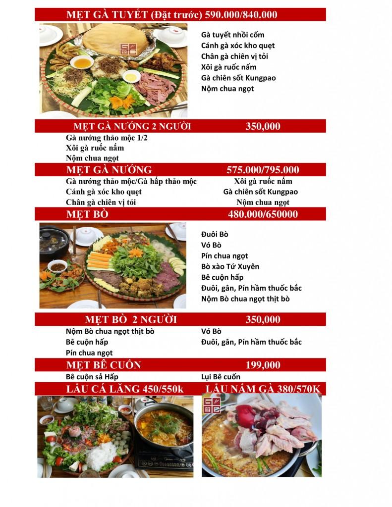 menu Góc Hà Nội 493 Trương Định
